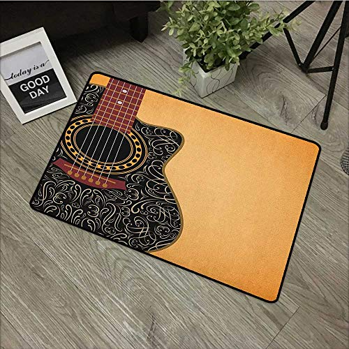 (Interior mat W31 x L47 INCH Guitar,Clipped Guitar with Vintage Floral Folk Ornaments Musician Hobbies, Pale Orange Black Maroon with Non-Slip Backing Door Mat Carpet)