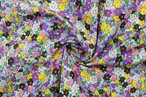 AllTissus - Tela poleina de algodón Estampado, diseño de Flor de ...