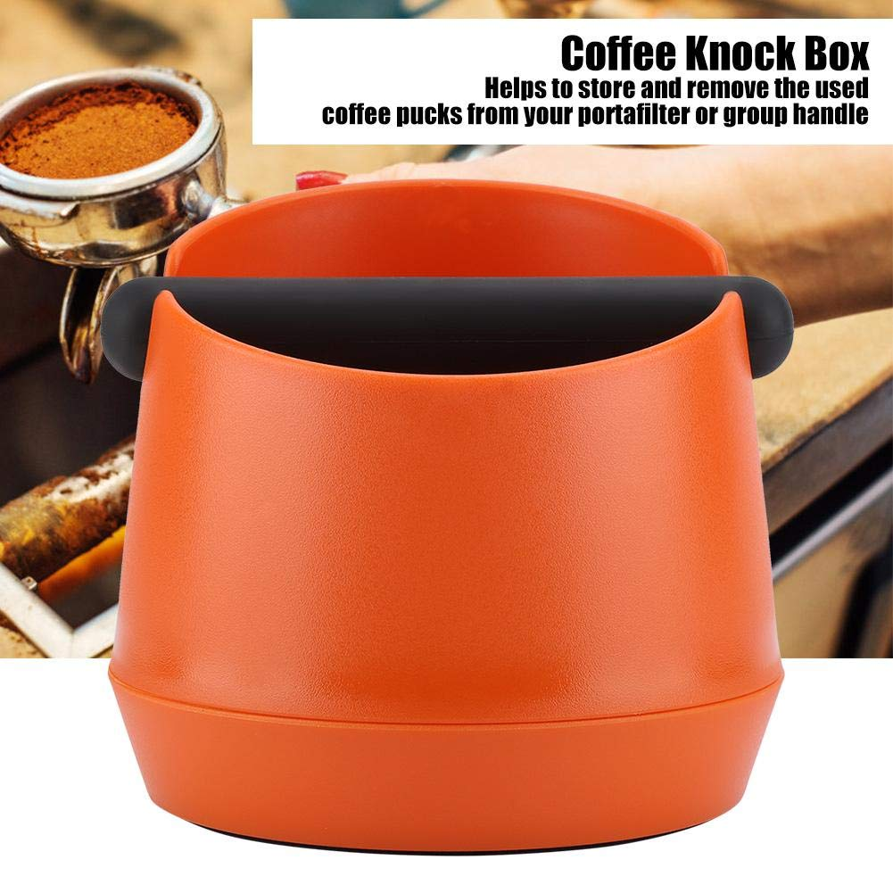 Cafe Shop Bewinner Coffee Knock Box with Detachable Rubber Bar Espresso Grounds Pucks Container Large Capacity Coffee Knock Box for Home Canteen Restaurants Black Bars