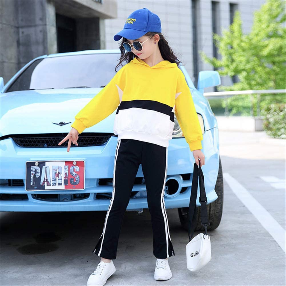 FTSUCQ Girls Hoodie Tracksuits Contrast Color Sweatershirt Coat Striped Pants