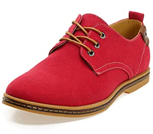 DADAWEN Men's Canvas Oxford Casual Shoe Red US Size 7