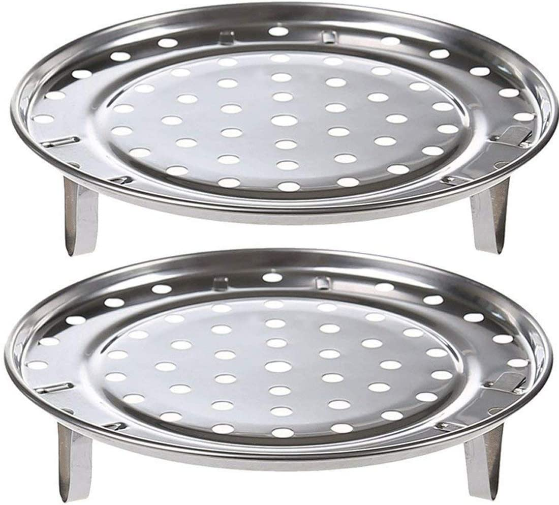 "2 Pack Round Stainless Steel Steamer Rack Large 10.23"" Inch Diameter Steaming Rack Stand Canner Canning Racks Stock Pot Steaming Tray Pressure Cooker Cooking Toast Bread Salad Baking"