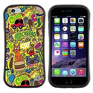 "Hypernova Slim Fit Dual Barniz Protector Caso Case Funda Para Apple (4.7 inches!!!) iPhone 6 / 6S (4.7 INCH) [Abstract Art Dibujo Gato amarillo Ocupado""]"
