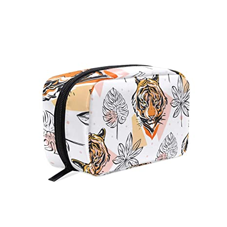 ISAOA Tiger and Leaves - Mini bolsa de maquillaje portátil ...