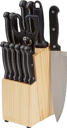 El juego de cuchillos de cocina de 14 piezas incluye: 1 soporte de madera de pino, 1 tijeras de coci