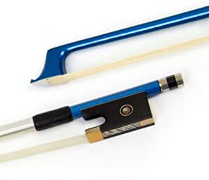 Kmise Carbon Fiber Violin Bow Stunning Bow for Violin Parts Replacement Black 1 Pcs (1/2, Blue)