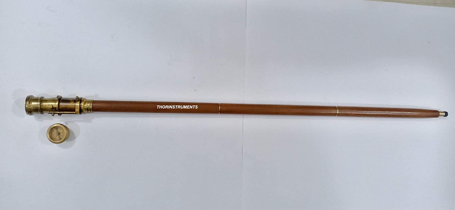 Nautical Brown Wooden Walking Stick Spy Antique Telescope Compass Handle Canes