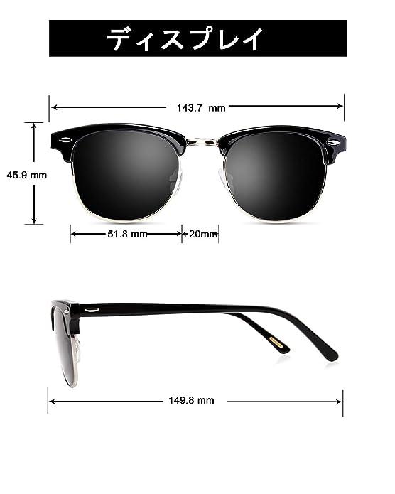 Sunglasses for Men Women - wearpro Retro Semi-Rimless Polarized Sun Glasses WP1006