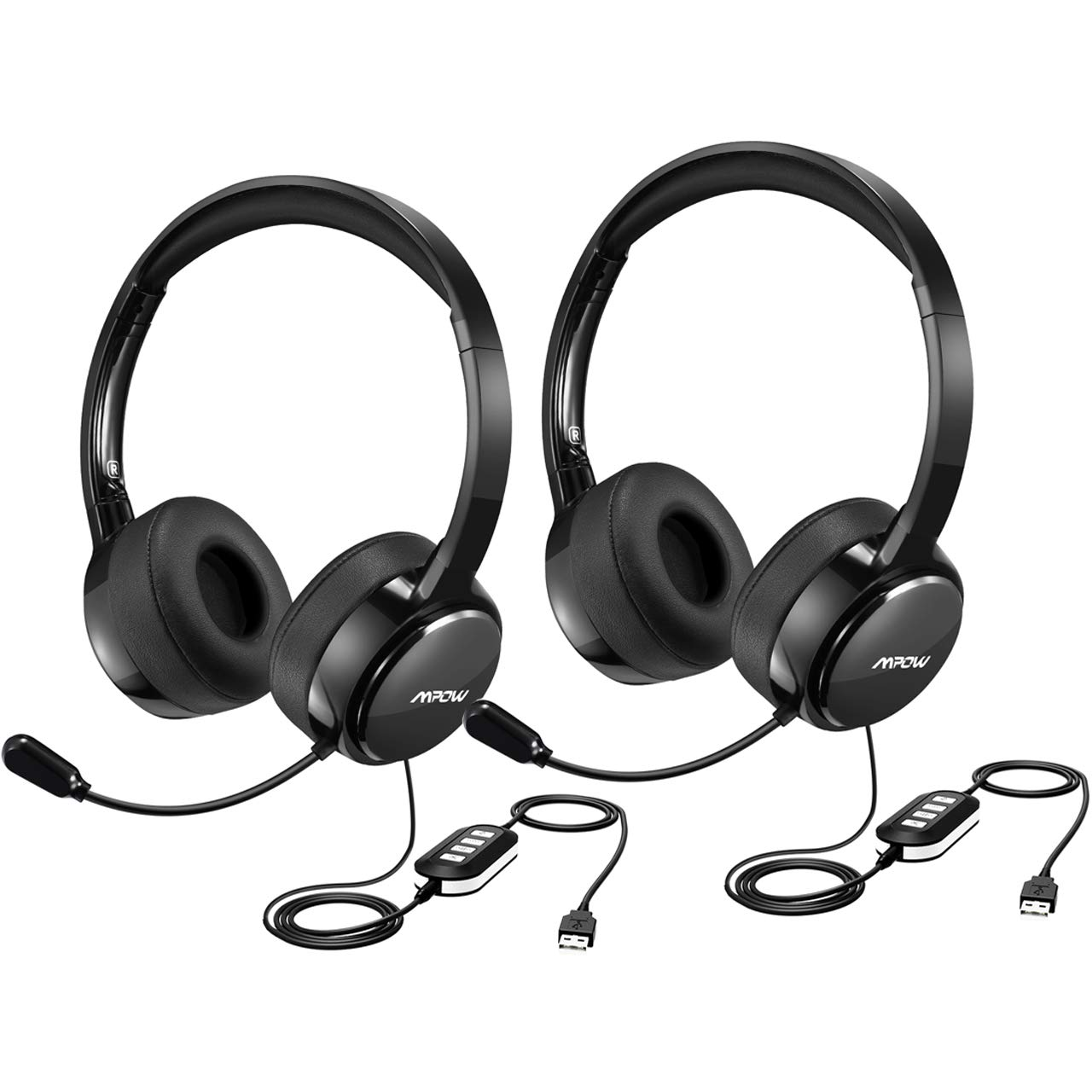 Mpow Upgraded USB Headset with 3.5mm Jack, Lightweight Computer Headset with Noise Cancelling Microphone, Comfy Earmuffs, Wired Headphones for PC, Skype, Phone (2 Pack)