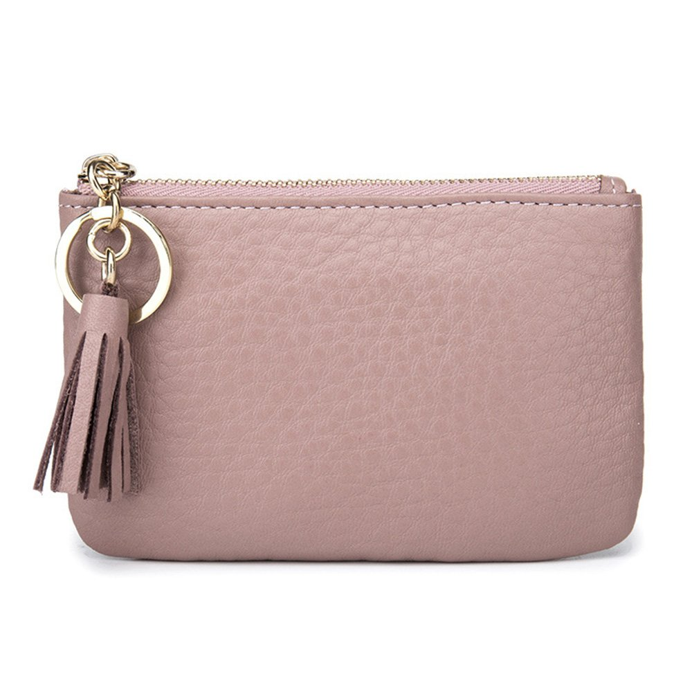 Aladin Wide Coin Change Purse Wallet with Key Ring & Leather Tassels Zip Tab Pink