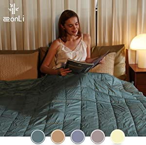 """ZonLi Bamboo Weighted Blanket(15lbs, 60""""x80"""", Sea Grass, Queen Size) Oeko-Tex Certified Material Cooling Blanket"""
