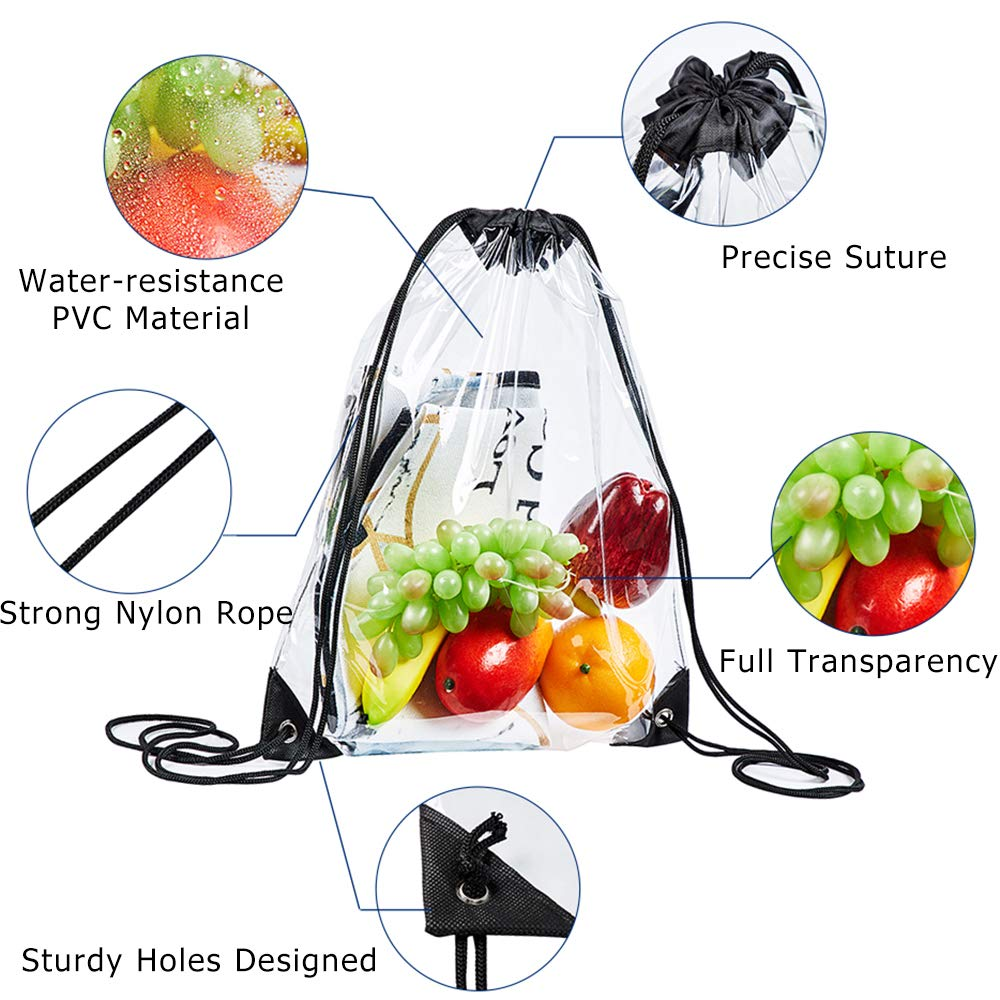 Clear Drawstring Bag Black Clear Gym Drawstring Backpack for Stadium Travel and Works Concert Fans