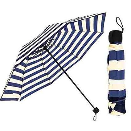 d40c2806c842 Amazon.com: bubblefish Three-Folding Women Mini Striped Umbrella ...