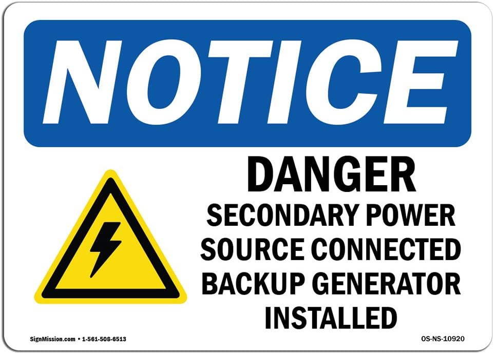 Danger Secondary Power With Symbol �Made in the USA OSHA WARNING Sign