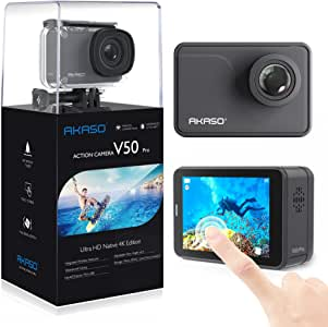 AKASO V50 Pro Native 4K30fps 20MP WiFi Action Camera with EIS Touch Screen 100 feet Waterproof Camera Web Camera Support External Mic Remote Control Sports Camera with Helmet Accessories Kit