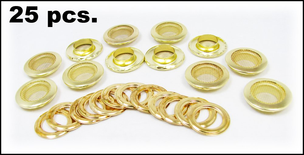 25pc. Shiny Brass 1'' (outside diameter) Screened Grommets with Washers