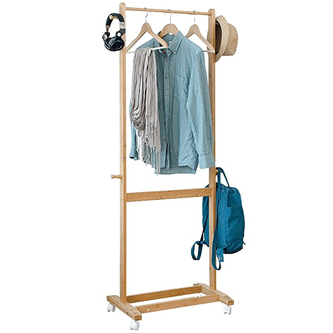 Amazon.com: Qfgis Bamboo Coat Racks Creative Landing Bedroom ...