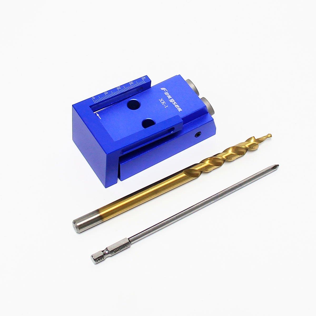 Wisamic Kit per carpenteria per riparazioni di sistemi di fori per la tasca in lega di alluminio Kit con punta per trapano e accessori per la lavorazione del legno