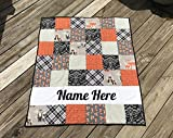 Pesonalized Fox Woodland Baby Quilt - Crib or Toddler Size - Fox - Arrows - Plaid - Dots - Black - Rust Orange - Gray