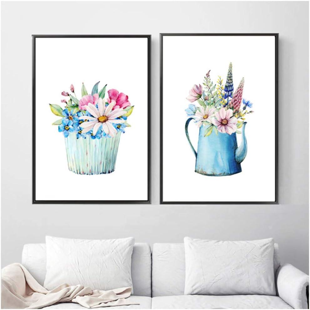 Cuadro en lienzo Margarita nórdica Sol azul Flor jacinto Violeta Arte de la pared Carteles e impresiones Cuadros Decoración 60x80cm (23.6