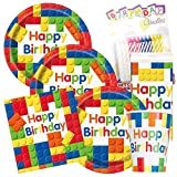 Colorful Building Blocks Birthday Party Plates and Napkins (Deluxe)