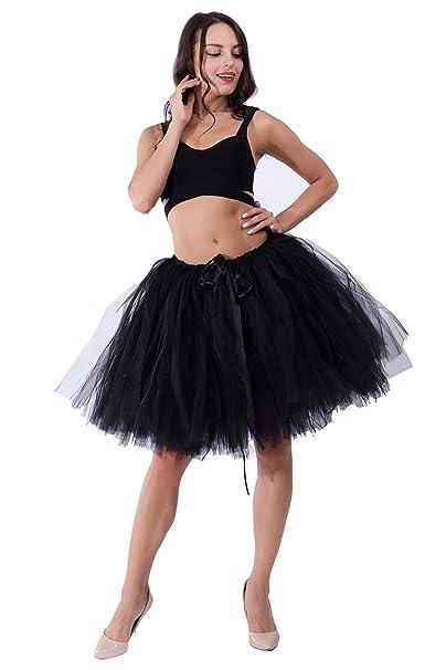 4726bddb3 MisShow Women Knee Length Tutu Tulle Skirt Black Puffy Party Prom Skirts