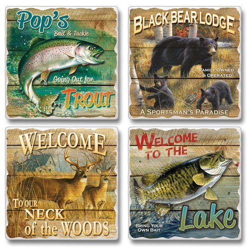 "High Country Outfitters 4 Pack Asst. Coasters 3.6"" Sq. x .3"" (Highland Outfitters)"