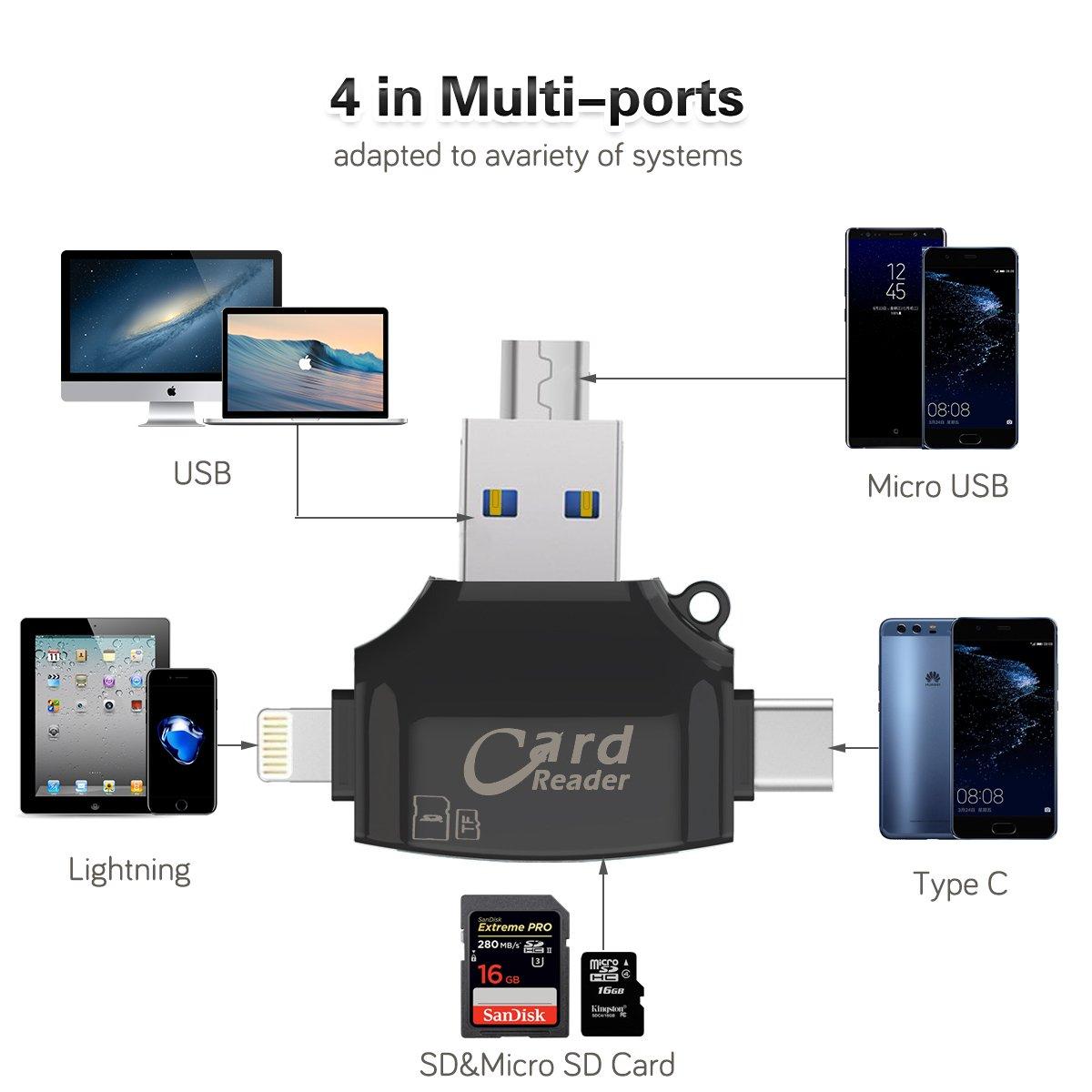 Sonoka Lector Tarjetas de Memoria SD//Micro SD 4 en 1 Adaptador Tarjetas USB 3.0// Lightning//Micro USB//Tipo C Conector Lector de Tarjetas para Apple iPhone MacBook y Phone Andriod iPad