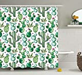 Conelia Shower Curtains,shower curtain clear,Waterproof Mildew Resistant Fabric Bathroom Decor with Hooks, Bathroom Products 72x72 inch,Mexican Cactus Shower Curtain,