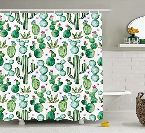 Conelia Shower Curtains,shower curtain clear,Waterproof Mildew Resistant Fabric Bathroom Decor with Hooks, Bathroom Products 72x72 inch,Mexican Cactus Shower Curtain, by Conelia
