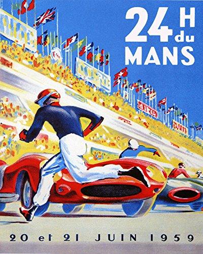 Canvas Reproduction Vintage Print - CANVAS 1959 24 Hours Du Man Le Mans France French Car Automobile Race Grand Prix Sport 16