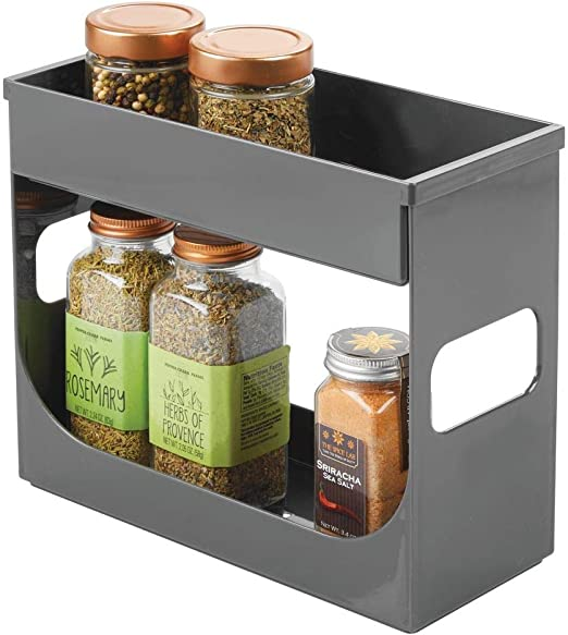 4 X GLASS SPICE//HERB JARS WITH LIDS FOR KITCHEN RACK RACKS STORAGE CANISTERS