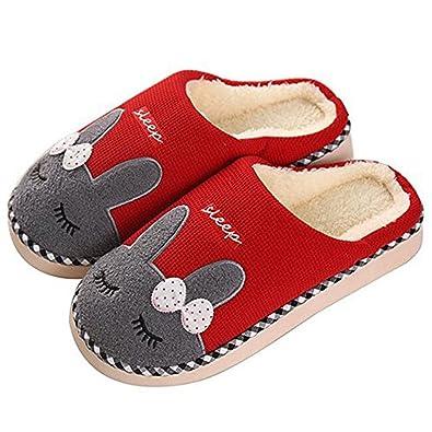 SAGUARO® Baumwolle Pantoffeln Plüsch Wärme Weicher Hausschuhe Kuschelige Home Slippers Komfortable Rutschfeste Schuhe für Herren Damen, Gelb 38