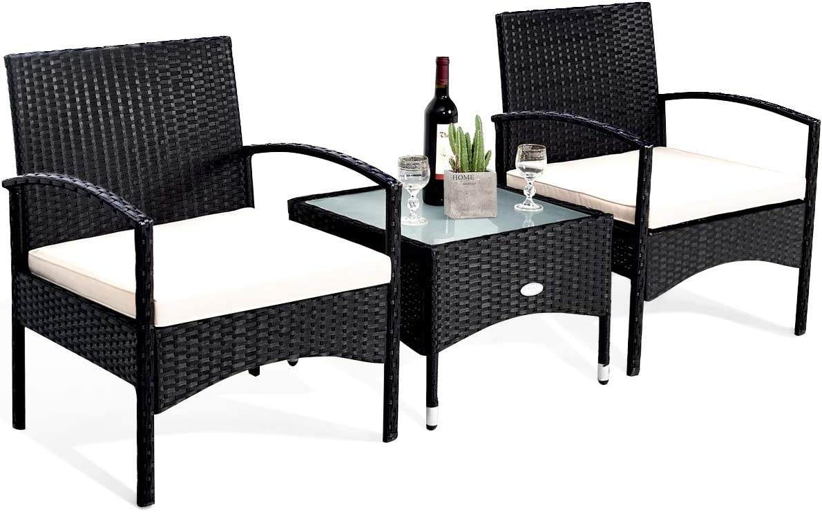 Tangkula 3 PCS Patio Wicker Rattan Furniture Set, Rattan Chair with Coffee Table, High Load Bearing Chair Conversation Sets for Patio Garden Lawn Backyard Pool (Black)