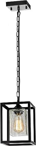 SYDTOP Modern Clear Crackle Glass Pendant Light