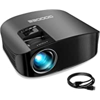 """Projector, GooDee Video Projector 200"""" LCD Home Theater Projector Support 1080P HDMI VGA AV USB MicroSD for Home Entertainment, Party and Games"""