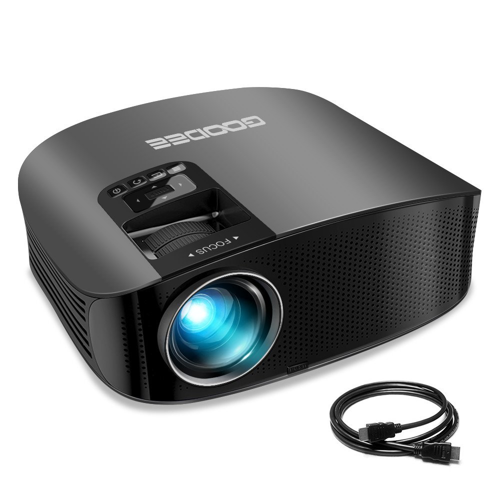 Projector, GooDee Video Projector 200'' LCD Home Theater Projector Support 1080P HDMI VGA AV USB MicroSD for Home Entertainment, Party and Games