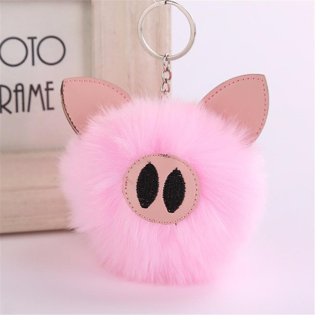 Amazon.com: lavany Pom Pom Llaveros, cute Pig llavero bolsa ...