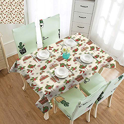 DILITECK Washable Table Cloth Christmas Surprise Boxes with Rich Patterns and Holiday Birds Bringing Mittens Socks Party W70 xL94 Greed Red Beige ()