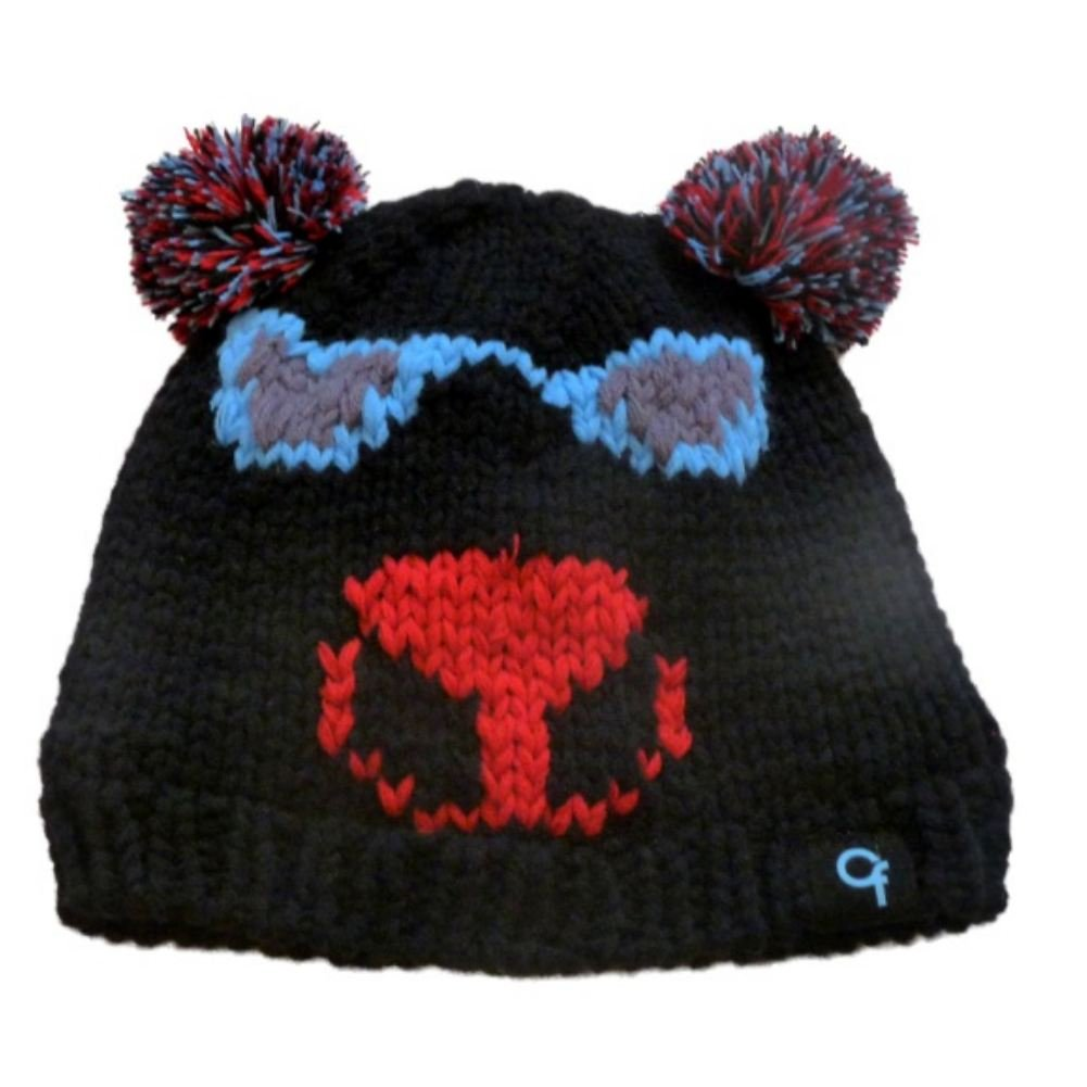 Cold Front Girls Knit Bear Beanie Hat With Pom Pom Ears & Sunglasses