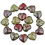 SUNYIK Dragon Blood Jasper Carved Puff Heart Pocket Stone,Healing Palm Crystal Pack of 10(0.8'')
