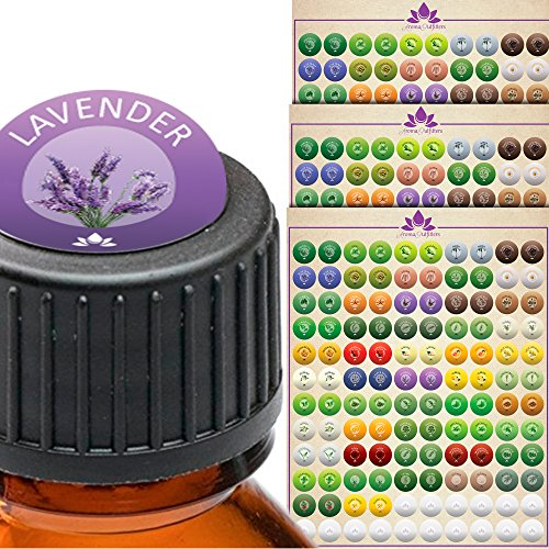 Essential Oil Labels - Bottle Cap Stickers Label Set for All Bottles and Rollers with Floral Designs - Best to Help Organize and Find Your Oils Quickly - 3 Designer - All Brands Designer Of List