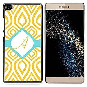 GIFT CHOICE / Teléfono Estuche protector Duro Cáscara Funda Cubierta Caso / Hard Case for Huawei Ascend P8 (Not for P8 Lite) // A Initial Teal Green Gold Pattern //