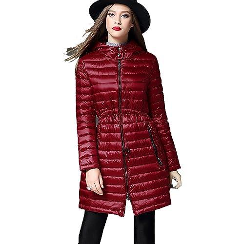 WTUS Mujer Capucha Ligero Abajo de Invierno Rompevientos Chaquetas de Pluma,rojo