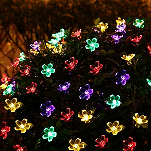(FULLBELL Patio String Lights Cherry Flower Outdoor Lights 66 Feet 200 LED Light Decorations for Chirstmas Tree, Party, Wedding, Bedroom, Indoor and Outdoor Lighting (Multi-Color))