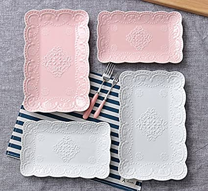 10 Inches, Pink Jusalpha Pink Rectangle Embossed Lace Plate-1 Piece