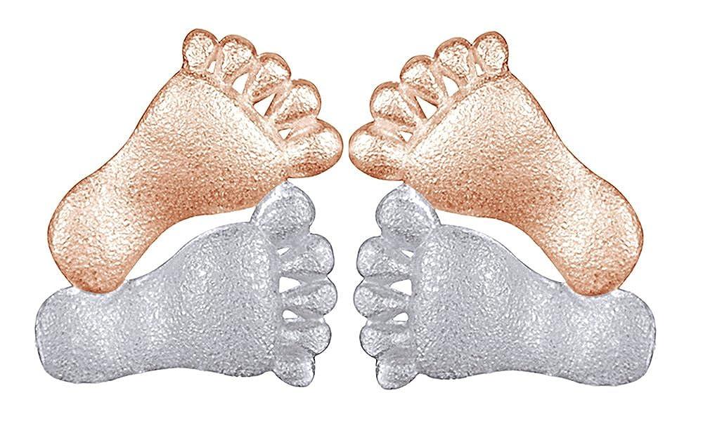 14K Solid Yellow Gold Footprint Stud Earrings Foot Feet Women Men