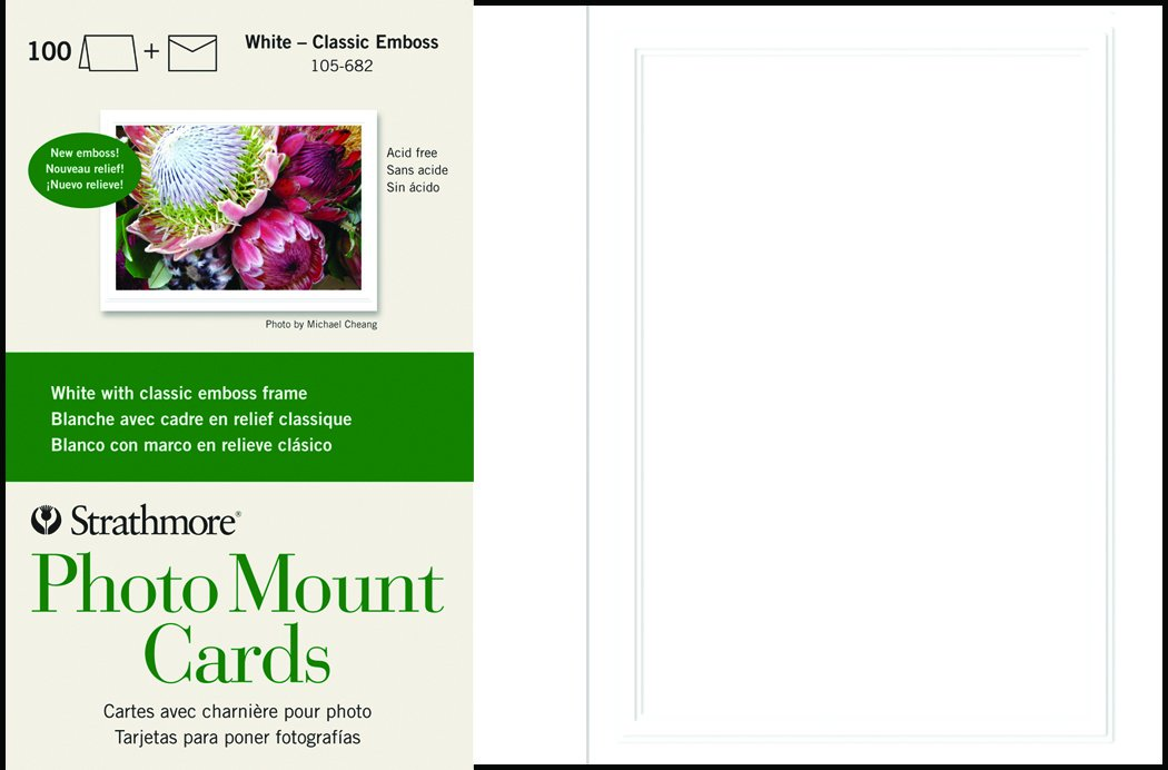 Strathmore 105-682 Photo Mount Cards, White Classic Embossed Border, 100 Cards & Envelopes