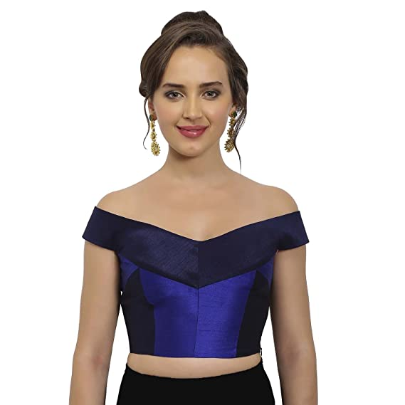 eecc91d60e7da JustB Navy and Cobalt Blue Raw Silk Off-Shoulder Readymade Blouse   Amazon.in  Clothing   Accessories