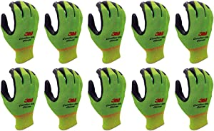 Lightweight Nitrile Foam Coated Work Gloves - 10 Pairs Multi Pack - Washable Smart Touch (Large, Green)